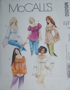 boho fashion for women over 40 | McCalls 5050 Boho Peasant Tunic Top Sewing Pattern Size l - xl, large ...