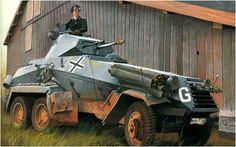 Sonderkraftfahrzeug Sd. Kfz. 231 Schwerer Panzerspähwagen, Russland 1941. Gehört zu Heinz Guderians Einheiten.