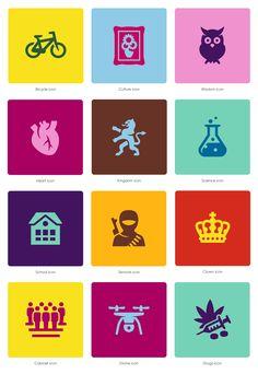 Bicycle icon, Culture icon, Wisdom icon, Heart icon, Kingdom icon, Science icon, School icon, Terrorist icon, Crown icon, Cabinet icon, Drone icon and Drugs icon by #Dutchicon for #Rijksoverheid iconen. #icondesign www.dutchicon.com