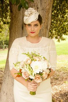 Custom silk covered hat for bride. embellished with lace and beads. Cailin Alainn www.cabridal.com.au