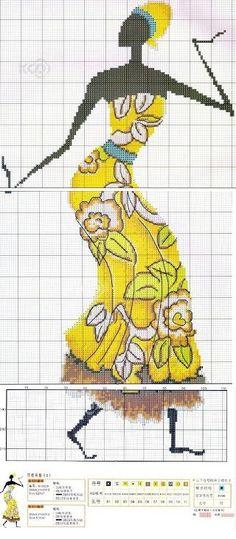 0 point de croix femme africaine robe jaune - cross stitch african woman in yellow dress