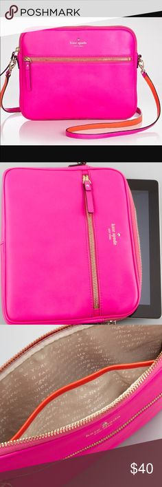 """kate spade new york brightspot ave bryce ipad case This vividly colored kate spade new york iPad® case lets you show your style even when it comes to your electronics. Leather with golden hardware. Padded interior protects your tablet. Top zip. Crossbody strap; 20 3/4"""" drop. Front zip pocket. Interior, open slip pocket. 8 1/2""""H x 10 3/4""""W x 1""""D; weighs 14oz. kate spade Bags Travel Bags"""
