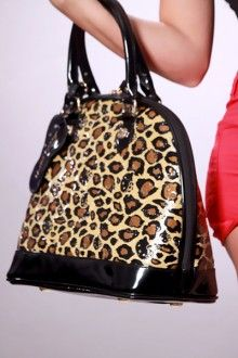 Leopard Faux Patent Leather Embossed Hello Kitty Hello Kitty Tote Handbag
