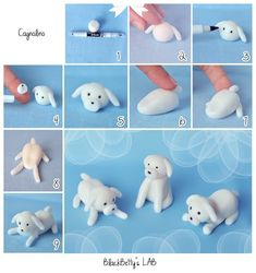 How to make a sugar paste / fondant dog Polymer Clay Animals, Polymer Clay Crafts, Diy Clay, Fondant Figures, Fondant Toppers, Fondant Cakes, Fondant Baby, Cupcake Toppers, Decors Pate A Sucre