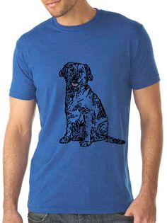 chien bleu royal col masculine chemise - design vintage BLACK DOG - dog t-shirt