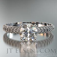 Free Stance Fine Pave Round Diamond Cut 0.75 - 2.00CT Diamond Engagement Ring
