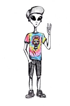 Alien boy in human tie Dye