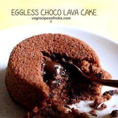 Eggless Choco Lava Cake Recipe - Easy and yum recipe of molten lava cake made with Whole Wheat Flour, Cocoa powder and Chocolate.