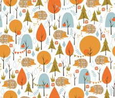 Hedgehog Party fabric by papercanoedesign on Spoonflower - custom fabric