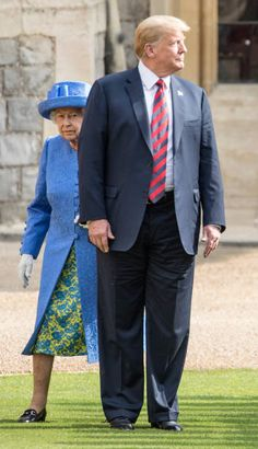 U.S. President Donald Trump and Britain's Queen Elizabeth II inspect a Guard of Honor, formed of the Coldstream Guards at Windsor Castle. The US President went out of synch with The Queen while he was admiring the step with the official choreography. The President failed to pick up on the signal instead he came to an abrupt stop accidentally in front of the Queen, the Queen has to walk around him, then finally marched together as they walked past the troops.