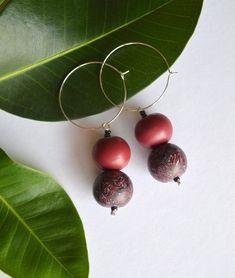 Burgundy beaded earrings Dark red hoop earrings Handmade