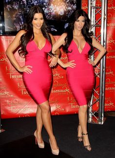 Kim Kardashian: Unveils her Wax Figure at Madame Tussauds (Consider how plastic she is, Kim's wax figure isn't so good. because the face is not that easy to recognize. Famous Celebrities, Hollywood Celebrities, Celebs, London In August, Herve Leger Dress, Cheerleading Outfits, Madame Tussauds, Fashion Face, Wholesale Clothing