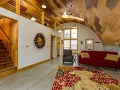 Unique Quonset Hut Home Will Give You Design Inspiration - SteelMaster Buildings This stunning SteelMaster Quonset Hut home that recently sold in Tennessee will give you design inspiration for your next big project. Steel Building Homes, Building A House, Green Building, Welding Table, Quonset Hut Homes, Arched Cabin, Hut House, Steel House, Stylish Home Decor