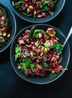 Raw beet salad with quinoa, carrots, edamame, and spinach from @cookieandkate, plus 25 more quinoa salad recipes