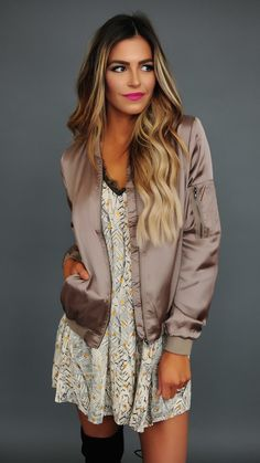 Olive Light Weight Bomber Jacket - Dottie Couture Boutique