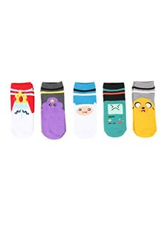 Five pairs of no-show socks from #Adventure Time with colorful varsity stripe character designs.