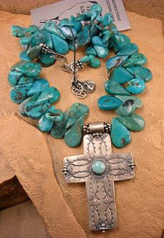 The Mummy's Bundle Turquoise Teardrop Necklace with Large Silver Cross