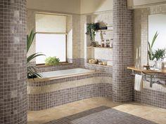 Mosaic Tile Pillar Bathroom