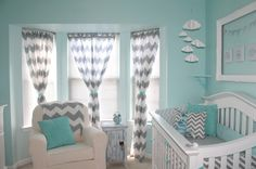 This is exactly what I had in Mind: Aqua or Teal and gray chevron curtains.  Love the walls and curtains and white, just don't need the furniture to be baby stuff. :)