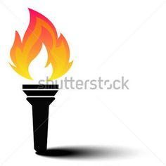 Olympic Torch With Flame on Ionic Column Vector Illustration stock ...