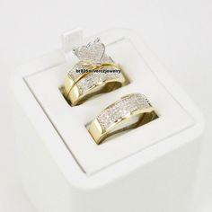 His Her Mens Womans Diamonds Yellow Gold Matching Wedding Bands Trio Bridal Set #br925 #WeddingAnniversaryValentinesPromiseGift