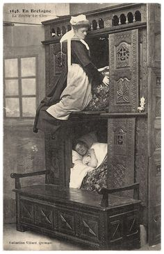 A box-bed (or closed bed, close bed, enclosed bed) is a bed enclosed in furniture that looks like a cupboard, half-opened or not. The form originates in western European late medieval furniture.  The box-bed is closed on all sides by panels of wood. One enters it by removing curtains, opening a door hinge or sliding doors on one or two slides. The bed is placed on short legs to prevent moisture due to a dirt floor. Painting, Art, Kunst, Gcse Art, Sanat