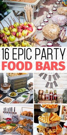 Incorporate these fabulous food bar ideas into your next party and wow your guests. Clever and most of all delicious these food bars are a guranteed hit. #foodbars #foodbarsforparties #foodbarideas #foodbarsstation #partystations #foodstations #foodbarsdesigns #diyfoodbars