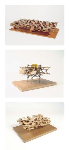 + Proyecto: Ville Spatiale, 1960 + Arquitecto: Yona Friedman + Material (de arriba a abajo) 1. Metal, cartón, madera, porcelana 2. Madera, cartón 3. Madera, cartón + Descripción: con estas maquetas, Yona Friedman pretendía explicar la idea de La...