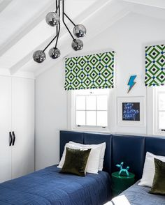 Such clever styling of our Oslo Bedhead in this boy's beach style bedroom. And how incredible are these blinds! Green Color Schemes, Green Colors, Navy Headboard, Upholstered Beds, Bed Head, Navy And Green, Storage Boxes, Gallery Wall, Inspiration