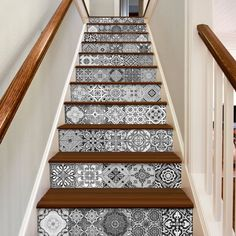 Staircase Decals - Tile Decal - Staircase - Portuguese Tiles - Tile Stickers - Kitchen Tiles - Bathroom Tiles - Wall Tiles PACK OF 48 TILE DECALS To view more Art that will look gorgeous on Your Walls Tile Decals, Wall Tiles, Wall Decal, Window Decals, Wall Art, Staircase Decals, Stairs Vinyl, Tiled Staircase, Floating Staircase