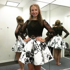 Elegant 2 Piece Long Sleeves Black Short Homecoming Dress with Lace Beading Printed