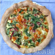 Butternut Squash, Bacon and Arugula Quiche - designer bags and dirty diapers