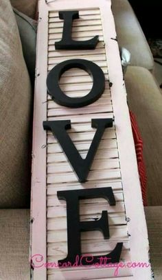 Love on pink shabby chic shutter