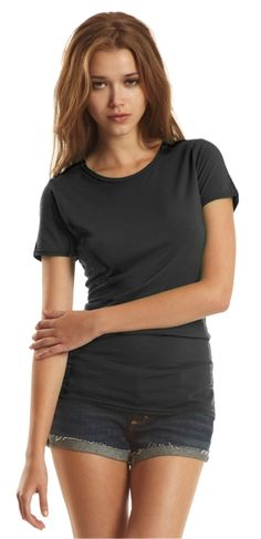 Bamboo Ladies Crewneck T. Style #56. Super Soft, 70% Rayon from Bamboo. 30% Organic Cotton. Ring Spun. Fine Jersey. Short Sleeves. Sides seamed, Comfort Fit. PRE-SHRUNK, PRE-WASHED. MADE IN CANADA. For details on how to order this item with your logo branded on it contact ww.fivetwentyfour.ca  #bambooshirts