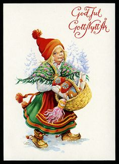 Merry Christmas and Happy New Year Swedish Christmas, Christmas Past, Scandinavian Christmas, Christmas Pictures, Christmas Holidays, Christmas Crafts, Childrens Christmas, Nouvel An, Vintage Christmas Cards