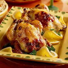 Orange-Glazed Cornish Hens Recipe on Yummly. Cornish Hen Recipe, Cornish Game Hen, Cornish Hens, Christmas Dinner Menu, Stuffing Casserole, The Last Meal, Main Meals, Great Recipes, Yummy Recipes