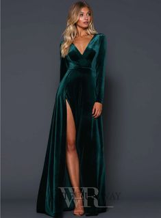 Fontaine Gown. A beautiful full length dress by Elle Zeitoune. A velvet gown featuring a deep v-neckline and high side split. #wedding #whiterunway #ellezeitoune #redcarpet #bridesmaid #emerald