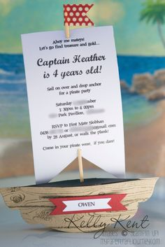 3D Pirate Invites using Stampin' Up! products - Kelly Kent mypapercraftjourney.com