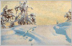 Gustaf Fjaestad (1868-1948), Traces dans la Neige - 1920
