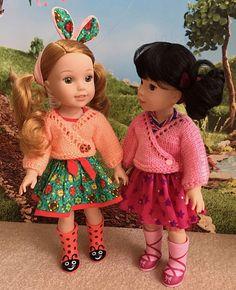 Ravelry: Kimono Sweater Fits 13 & Dolls pattern by Janice Helge Knitting Dolls Clothes Patterns, Doll Patterns, Knit Patterns, Child Doll, Girl Dolls, Wellie Wishers Dolls, Kimono Pattern, Sport Weight Yarn, Seed Stitch