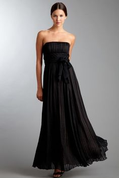 BCBG MAXAZRIA Strapless Gown with Tulle Overlay and Self Belt