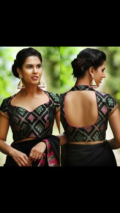 This Rangoli inspired black brocade blouse with a sweetheart neckline screams attention. Simplicity at its best, this is one blouse that…Gold Sequin And Sparkle Blouse For Party Wear Net Sarees If you like this post pl save it and tag your friends . Blouse Back Neck Designs, Fancy Blouse Designs, Indian Blouse Designs, Saree Jacket Designs Latest, Brocade Blouse Designs, Brocade Blouses, Neckline Designs, Designer Blouse Patterns, Designer Saree Blouses