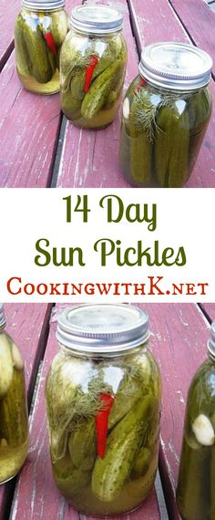 These pickles are so easy to make, and they are incredibly delicious. They have a distinct taste, and if you don't watch it, they can even be addicting.  Easy to make just pack your jars and sit them out in the sun for 14-days!