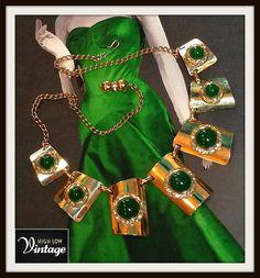 Vintage Gold Rhinestone Green Glass Stone Statement Necklace Bib Egyptian Revival FREE SHIPPING