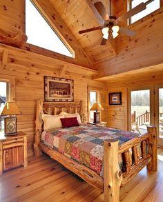 Guest bedroom - Log Cabin Interior Design Ideas by IvyNut Log Cabin Bedrooms, Log Cabin Living, Log Cabin Homes, Barn Homes, Cabin Interior Design, House Design, Bed Design, Home Bedroom, Bedroom Decor