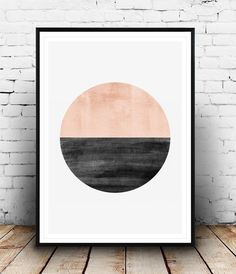Minimalist print, Abstract watercolor art, Geometric art, Circle print, Nordic style, Pink color print, Home art, Modern art, Minimal art