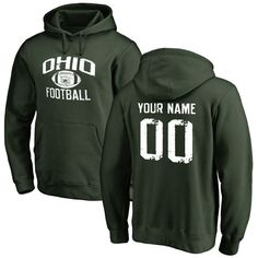 Ohio Bobcats Personalized Distressed Football Pullover Hoodie - Green - $69.99