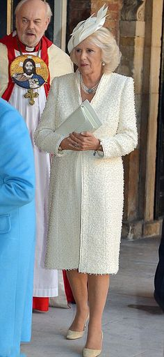 Camilla, Duchess of Cornwall, arrived at the Chapel Royal at St James' Palace, looked wonderful in an all-cream ensemble, complete with a cosy bouclé coat and a multi-strand pearl necklace. 23 October 2013.