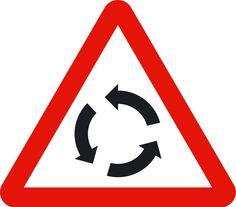 Intersección con circulación obligatoria (p4); Peligro por la proximidad de una intersección donde la circulación se efectúa de forma giratoria en el sentido de las flechas.