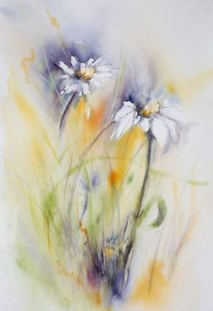 "AQUARELLE ""Marguerites des champs"" © 